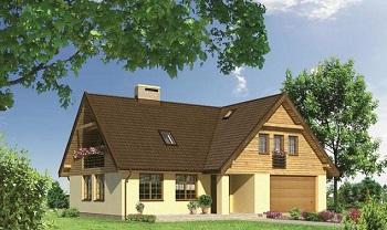 Г-образная крыша дома с равными фронтонами.