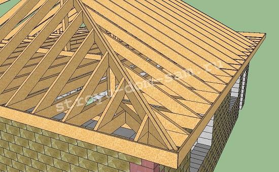 белые вальмовая крыша на приподнятых стенах монтажном блоке